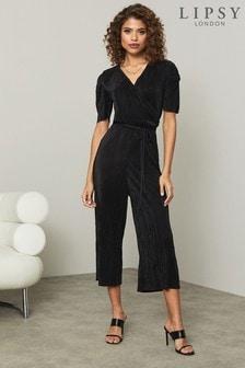Lipsy Black Plisse Ruched Sleeve Jumpsuit