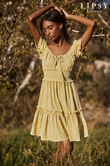 Lipsy Yellow Gingham Milkmaid Mini Dress
