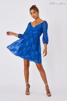Little Mistress Blue Lela Cerulean Textured Leaf Skater Dress