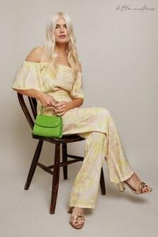 Little Mistress Yellow Rory Lemon Floral-Print Bardot Jumpsuit