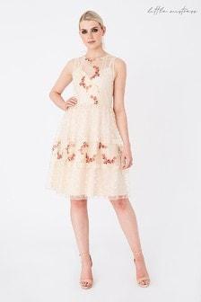 Little Mistress Nude Hana Floral Embellished Dress