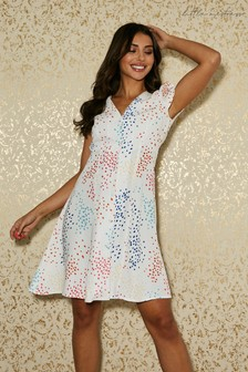 Little Mistress White Calver Spot-Print Button Through Swing Dress