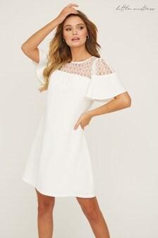 Little Mistress White Watford Lace Yoke Mini Shift Dress