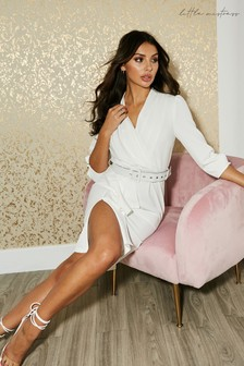 Little Mistress White Kensal White Frill Belted Bodycon Dress
