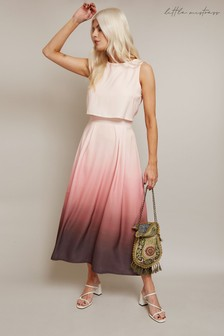 Little Mistress Pink Moreno Ombre Overlay Midi Dress