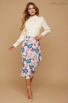 Little Mistress Pink Ramsay Floral-Print Frill Pencil Skirt