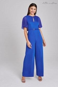 Little Mistress Blue Hurst Cobalt Cape Sleeve Belted Jumpsuit