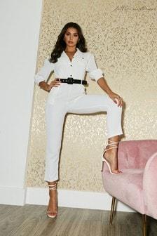 Little Mistress White Ladbroke White Belted Boiler Jumpsuit