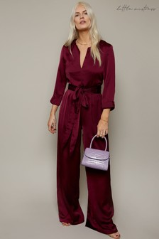 Little Mistress Purple Azar Satin Tie-Waist Wide-Leg Jumpsuit