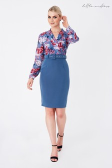 Little Mistress Blue Anjo Floral-Print Belted Shirt Dress