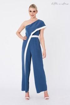 Little Mistress Blue Farrell Prussian Contrast Stripe One-Shoulder Jumpsuit