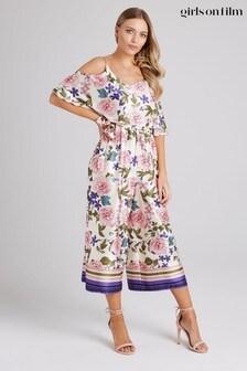 Little Mistress Black Bennett Floral-Print Cold-Shoulder Culotte Jumpsuit