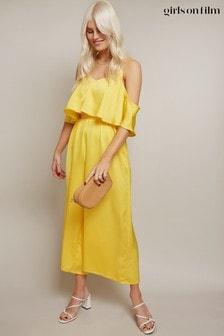 Little Mistress Yellow Kassie Yellow Satin Cold-Shoulder Culotte Jumpsuit