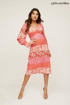 Girls On Film Red Lima Red Mixed-Print Midi Tea Dress