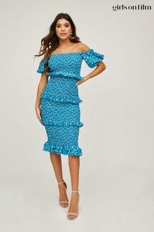 Girls On Film Blue Major Polka-Dot Bardot Midi Dress