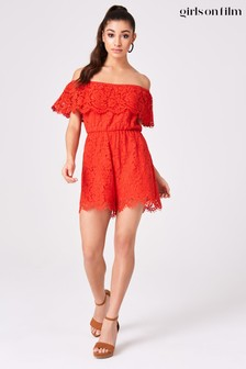 Little Mistress Red Sorrento Lace Bardot Playsuit