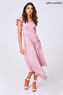 Little Mistress Pink Halo Floral-Print Satin Hanky Hem Midi Dress
