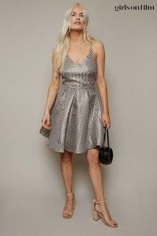 Little Mistress Silver Metallic Spot Jacquard Fit And Flare Dress