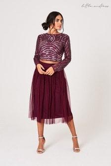 Little Mistress Purple Emma Plum Linear Sequin Top