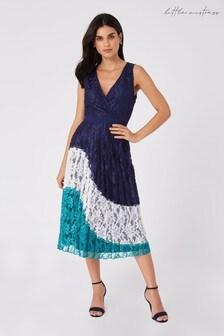 Little Mistress Multi Halston Navy Lace Colour Block Midi Dress