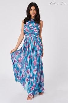 Little Mistress Multi Sumner Blue TieDye Print Pleated Maxi Dress