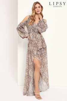 Lipsy Brown Cold Shoulder Printed Maxi Dress