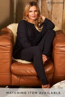 Sosandar Grey Ribbed Loungewear Leggings Co-Ord