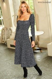 Sosandar Black Fleck Print Square Neck Jersey Midi Dress