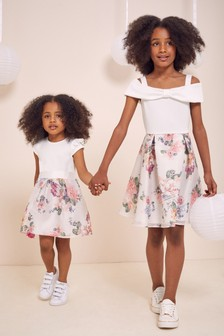 Lipsy White Mini 2in1 Frill Sleeve Dress