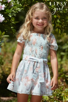 Lipsy Mint Floral Mini Shirred Bodice Playsuit
