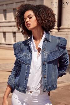 Lipsy Mid Blue Denim Ruffle Jacket