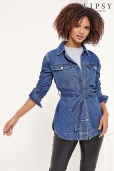 Lipsy Mid Blue Denim Belted Jacket