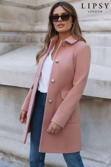 Lipsy Pink Military Button A Line Coat