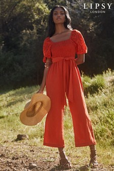 Lipsy Red Regular Broderie and Linen Blend Jumpsuit