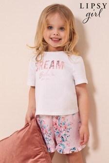 Lipsy White Mini Frill Short Pjama Set