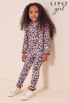 Lipsy Pink Leopard Mini Long Sleeve Tee And Legging Set