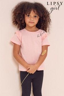 Lipsy Pink Mini Frill Sleeve T Shirt