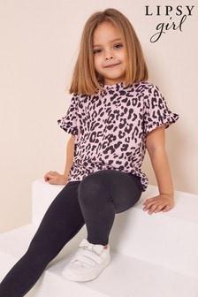 Lipsy Pink And Black Mini Frill Sleeve T Shirt