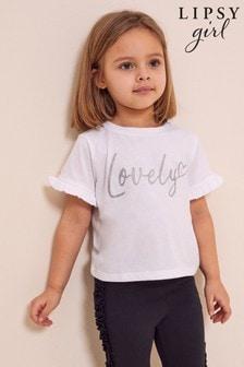 Lipsy White Mini Frill Sleeve T Shirt
