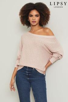 Lipsy Pink Pointelle Knitted Slash Neck Jumper