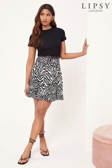 Lipsy Black 2 in 1 Knitted Zebra Dress