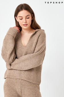 Topshop Camel Lounge Knitted Hoodie