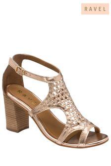 Ravel Rose Gold Leather PeepToe Sandals