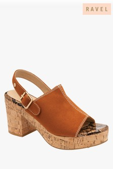 Ravel Brown Sling Back Peep Toe Sandals