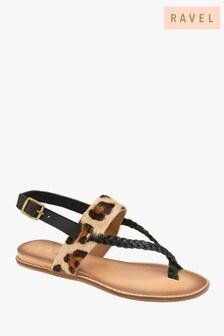 Ravel Leopard Print Open Toe Sandals