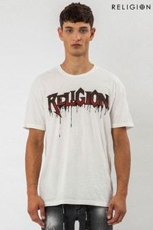 Religion White Drips Graphic T-Shirt