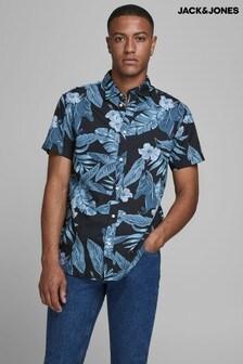 Jack & Jones Black Printed Short Sleeve Shirt