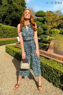 In The Style BLACK Stacey Solomon Race Neck Culotte Jumpsuit