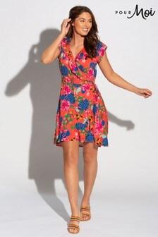 Pour Moi Red Floral Woven Wrap Beach Dress