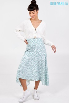 Blue Vanilla Blue Asymmetric Seam Midi Skirt